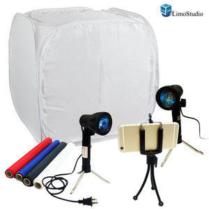 Table Top Photo Studio Shooting Tent box Kit, Cellphone iPhone 6 5S 5C Galaxy S4 S3 Holder Mini Tripod with Continuous Lights, AGG1492