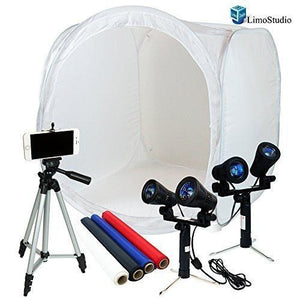 Table Top Photo Studio Shooting Tent box Kit, Cellphone iPhone 6 5S 5C Galaxy S4 S3 Holder Camera Tripod with Double Head High Output Light, AGG1493