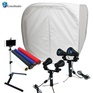 Table Top Photo Studio Shooting Tent box Kit, Cellphone iPhone 6 5S 5C Galaxy S4 S3 Holder Camera Tripod with Continuous Double Head Lights, AGG1494