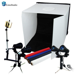 Table Top Photo Studio Shooting Tent box Kit, Cellphone iPhone 6 5S 5C Galaxy S4 S3 Holder Camera Tripod with Double Head High Output Light, AGG1496