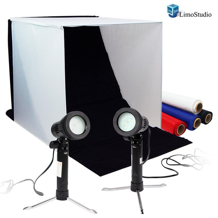 Table Top Photo Studio Shooting Tent box Kit with 5500K 600 Lumen Continuous LED Spot Lights, AGG1500