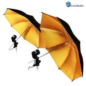 "Photography Photo Studio 52 "" Black / Gold Umbrella Reflector Diffuser with Light Bulb Adapter Holder, AGG1530"