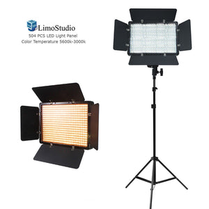 Dimmable Brightness Control, LED Barn Door Light Panel with Light Stand Tripod, Color Temperature Control by Color Filter Gel, Continuous Lighting Kit, AC Power Cord, AGG1553V2