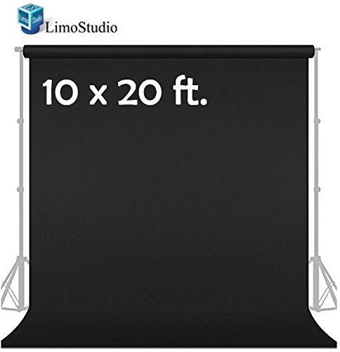 LimoStudio 10' x 20' Photo Video Studio Seamless Solid Black Muslin Backdrop Photo Studio Background, SRE1085