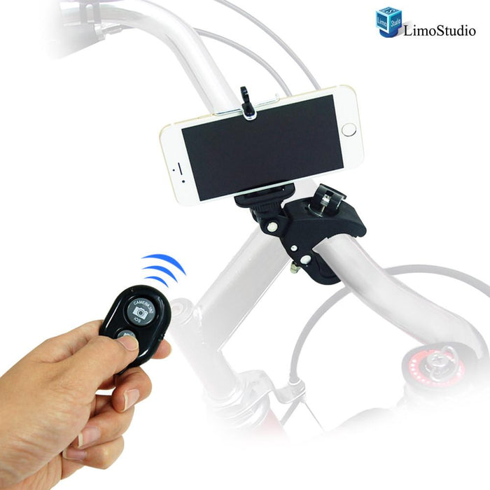 Photography Studio Action Camera Mount TILT Mount Clamp with iPhone 6, 5S 5 Galaxy S5 S4 Cellphone Holder and Bluetooth Remote , AGG1658