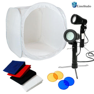 "Table Top Photo Studio 24"" Tent Kit - 2Pcs LED Portable Lighting Kit with 2 Colors Gel Filters Blue&Red, AGG1659"