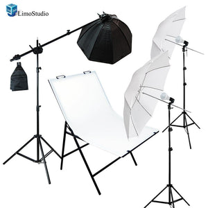 Photography Photo Studio Foldable Photo Shooting Table with Softbox Umbrella LED Continuous Lighting Boom Stand Kit , AGG1677