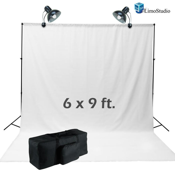 6 x 9 ft. White Muslin Backdrop Kit with LED Continuous Lighting Gooseneck C-Clamp for Photography Photo Studio, AGG1683