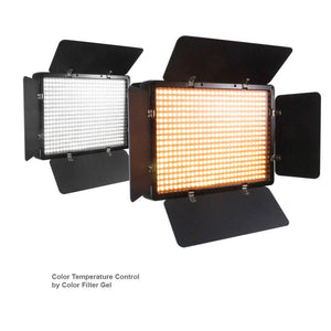 2 Sets of LED Barn Door Light Panel with Light Stand Tripod, Dimmable Color Temperature Control by Color Filter Gel, Continuous Light Kit, AC Power Cord, AGG1684V3