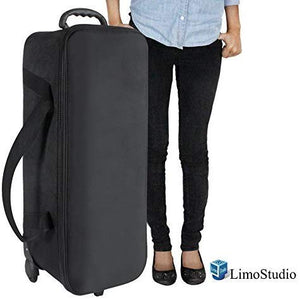 "LimoStudio Durable Photo Studio Equipment Carry Bag, 31""x11""x10"", Carrying Trolley Case, Padded Compartment, Wheel, Handle, Light Stand, Tripod, Strobe Light, Umbrella, Photo Studio, SRE1120"