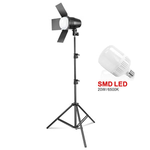 LimoStudio Photography Photo Studio Continuous LED Day Light Bulb Barndoor Light Stand Kit, SRE1199