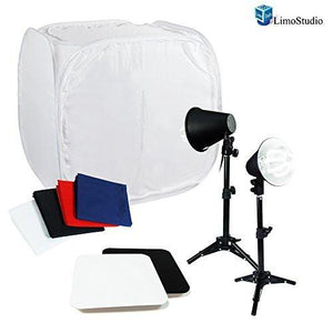 "Table Top Photo Studio 24"" Cube Tent Softbox Lighting Kit with New 50W Continuous Light, 4 Color Background, AGG1702V2"