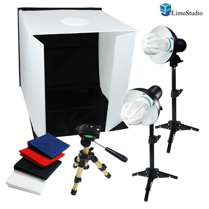 "Table Top Photo Studio 16"" Cube Tent Softbox Front Cover & Top Shooting Hole 4 Background Red White Black Blue with New 50W Continuous Lighting Kit, AGG1703"
