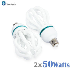 LimoStudio [2-pack] 50W Full Spectrum Light Bulb Photography Photo CFL 5500K, Daylight Balanced Pure White Light, AGG1707