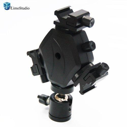 Flash Light 3 Head Triple Hot Shoe Mount Adapter Flash Light Bracket Umbrella Holder with Swivel Flash Clamp Holder Mount, AGG1714