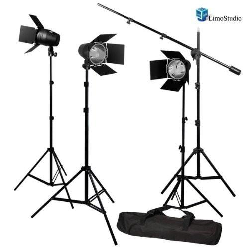 LimoStudio Photography Continuous Barn Door Lighting with Overhead Boom Light Stand Kit, AGG1749