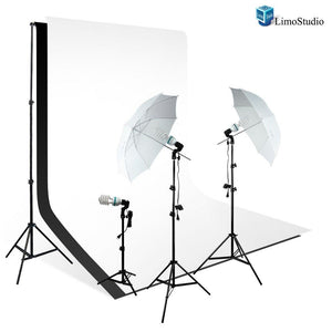 Photo Video Studio 1000 Watt Muslin Backdrop Background Light Kit with 2 White Diffuser Umbrellas, 6' x 9' Muslin Backdrop Kit with Black & White Muslin Background Studio Kit, AGG1755
