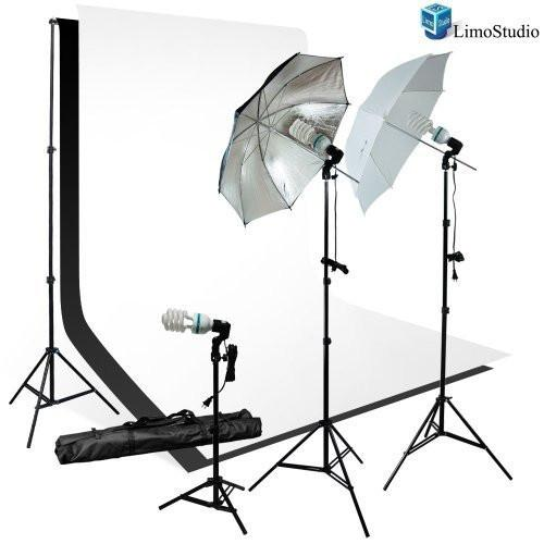 Photography 135 Watt two Umbrella and one small Light with white/black Photo Studio Bckdrop Kit, AGG1760