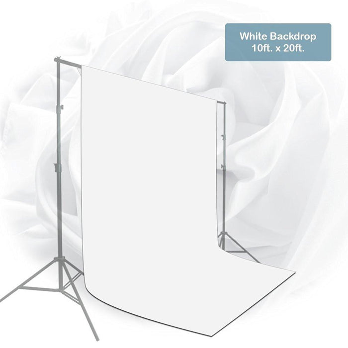10 x 20 ft. White Chromakey Photo Video Studio Fabric Backdrop, Background Screen, Pure White Muslin, Photography Studio, AGG1771V2