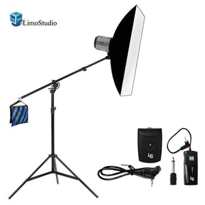 "300W Flash Strobe Light Photo Studio Monolight Speedlite Lighting Kit, 24""x 16"" Softbox 2-way Boom Stand Kit, AGG1778V2"