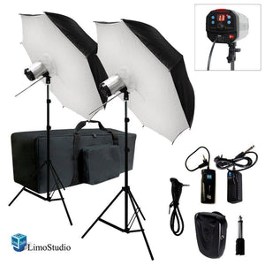 "2 x 40"" Umbrella Softbox Reflector White Diffuser with 300W Flash Strobe Photo Studio Monolight Speedlite Lighting Kit, AGG1779"