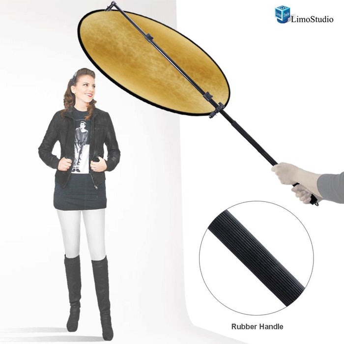 "43"" Lighting Reflector Diffuser with Rubber Hand Grip Extendable Reflector Holder Boom Arm Support, AGG1786"