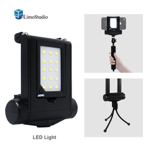 Mini LED Fill-In Light Smartphone Led Light With Adjustable Phone Holder Selfi-Stick Monopod and Travel Portable Tripod For iPhone 6 5s | Samsung Galaxy S5 S6 edge, AGG1790