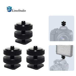 "(x3) Mini Black Double Screw Angle 1/4"" Hot Shoe Mount Adapter Holder, AGG1803"