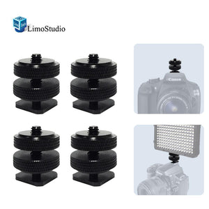 "(x4) Mini Black Double Screw Angle 1/4"" Hot Shoe Mount Adapter Holder, AGG1804"
