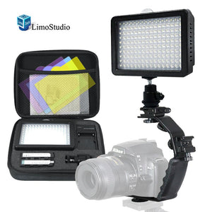 160 LED Video Light Lamp Dimmable Panel and Charger for DSLR Camera DV Camcorder with Hard Carry Case, Camera Bracket Mount Heavy Duty L-bracket with Standard Flash Shoe Mounts, AGG1805