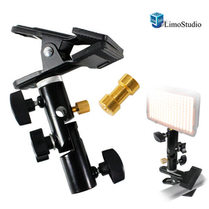"LimoStudio Heavy Duty Metal Clamp Clip Holder Light Stand Mount Bracket with Umbrella Reflector Holder, Female Screw Adapter Thread Brass and 5/8"" Light Stand Attachment for Reflector, SRE1065"