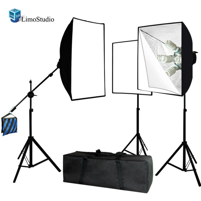 3000 Watt Digital Video Studio Continuous Light Kit with Carrying Case bag, Light Stand, Boom Stand Arm, Light Heads w/5 bulbs, Softbox, 11 Photo Bulbs, AGG1832