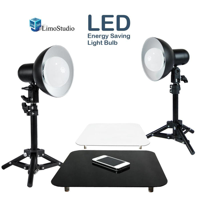 "2 x 18W LED Table Top Lighting Stand Kit with 12"" Acrylic Black & White Reflective Photo Background, Photo Studio, AGG1847"