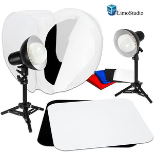"2 Sets of 18W LED Table Top Lighting Kit with Light Stand Tripod & Photo Shooting Soft Box Tent & 12"" Acrylic Black & White Reflective Photo Background, Photo Studio, AGG1849"