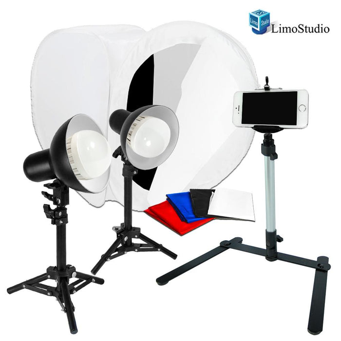 2 Sets of 18W LED Table Top Lighting Kit with Light Stand Tripod & Photo Shooting Soft Box Tent & Camera Video Table Top Light Weight Stand for Cell Phone, Photo Studio, AGG1850