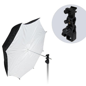 "Flash Hot Shoe Mount Adapter Trigger Umbrella Holder Swivel Light Stand Bracket & 39"" Reflective Umbrella Reflector, Photo Video Studio, AGG1852"