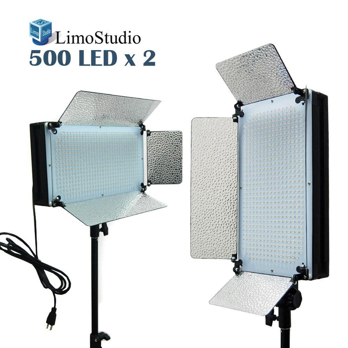 2 X 500LED Dimmable Photo Video light Panel, Photography Photo Video Studio LED Lighting Kit, AGG1872