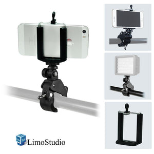 TILT Mount Bracket Clamp with iPhone 6, 5S 5 Galaxy S5 S4 Cellphone Holder Clip, Photo Video Studio, AGG1873