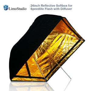 "LimoStudio 24""x24"" Photo Studio Speedlight Flash Reflective Umbrella Softbox Diffuser Black / Gold, Professional Photography Studio, SRE1216"