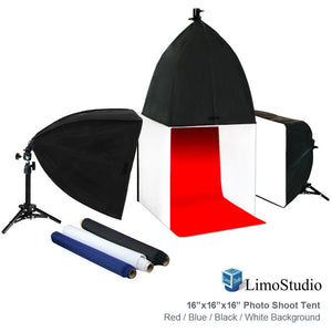 Photo Shoot Tent 16-inch with Color Background, Lightbulb & Soft Box, Light Stand Tripod, Professional Product / Commercial Photography, Photo Studio Lighting Kit, AGG1909