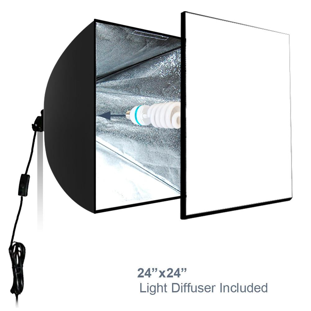 Photo shoot tent 24 inch with color background lightbulb soft box photo shoot tent 24 inch with color background lightbulb soft box light stand tripod professional product commercial photography photo studio aloadofball Images