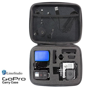 "GoPro Hard Case Carry Bag with Net and Sponge Compartment for GoPro Camera, Shock Proof, Water Proof, Multi Functional, Medium Size, 8.5"" x 7"" x 2.5"", Photo Studio, AGG1917"