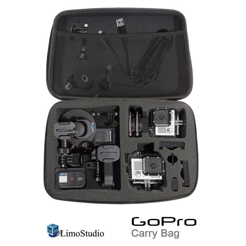 "GoPro Hard Case Carry Bag with Net and Sponge Compartment for GoPro Camera, Shock Proof, Water Proof, Multi Functional, Large Size, 12.5"" x 8.5"" x 2.5"", Photo Studio, AGG1918"