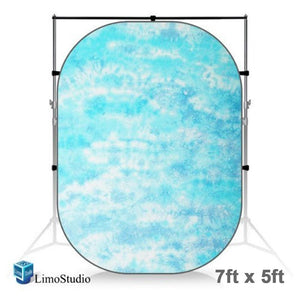 7 x 5 ft. Tie Dye Sky Blue Collapsible Pop Out / Foldable Muslin Background Panel Disc, Light Reflector with Carry Bag, Photo Soft Lighting Effect, Photo Studio, AGG1927