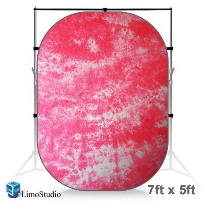 7 x 5 ft. Tie Dye Pink (Red) Collapsible Pop Out / Foldable Muslin Background Panel Disc, Light Reflector with Carry Bag, Photo Soft Lighting Effect, Photo Studio, AGG1929