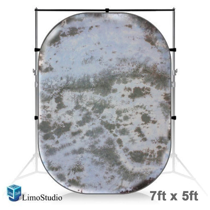 7 x 5 ft. Blue / Gray Tie Dye Collapsible Pop Out / Foldable Muslin Background Panel Disc, Light Reflector with Carry Bag, Photo Soft Lighting Effect, Photo Studio, AGG1930