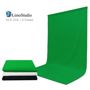 LimoStudio 10' x 12' Black & Green & White Chromakey Fabric Backdrop Background Screen, Photo Video Studio, AGG1933V2