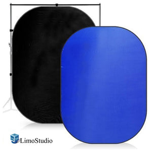 7 x 5 ft. Chromakey Blue & Black, Collapsible Pop Out / Foldable Muslin Background Panel Disc, Light Reflector with Carry Bag, Photo Soft Lighting Effect, Photo Studio, AGG1936