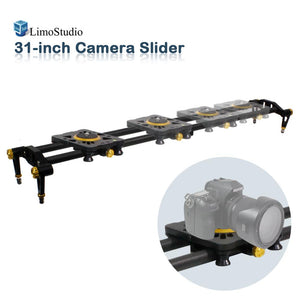 31-inch DSLR Camera Slider Dolly Track, Video Stabilizer, Carbon Fiber Rail System, High Precision Smooth Bearing Slide with Standard Mount and Spirit Level, Photo Studio, AGG1980