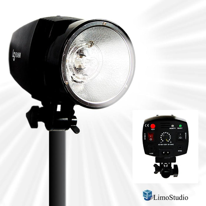 Flash Strobe Light, 150WS Output, 5600K Temperature, Sync Cord / Test Button / Slave, Fuse & Sync Cable Included, Umbrella Input, Mount on Light Stand, Photo Studio, AGG1992